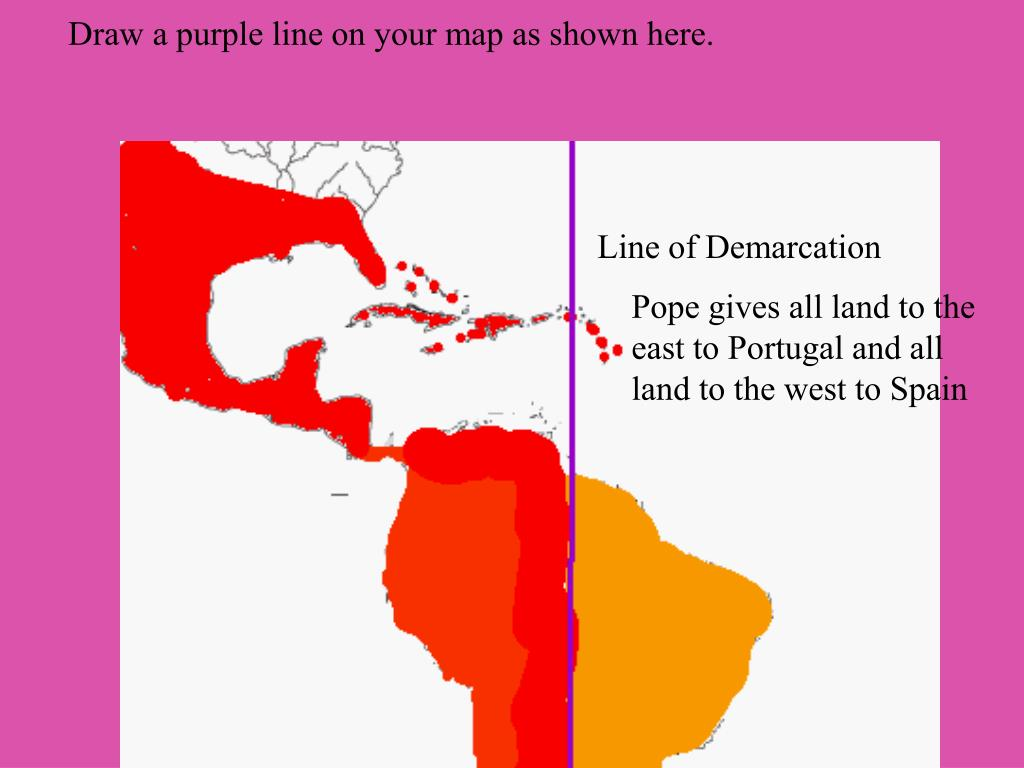 Draw a purple line on your map as shown here.