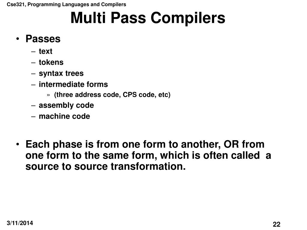 Multi Pass Compilers