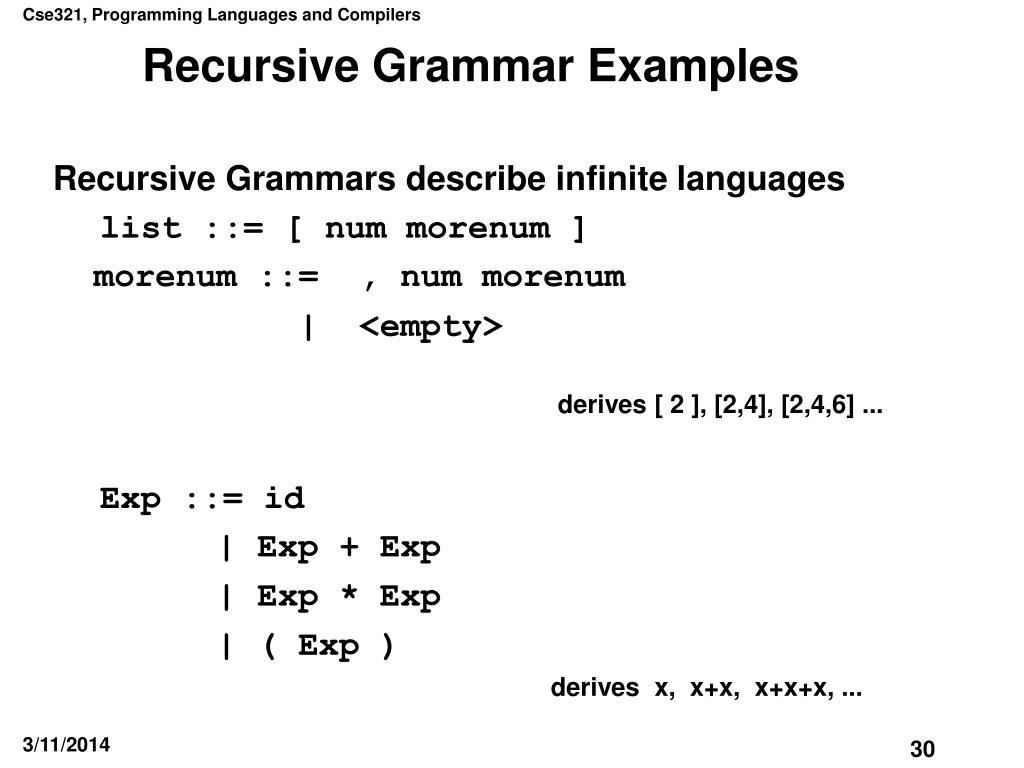 Recursive Grammar Examples