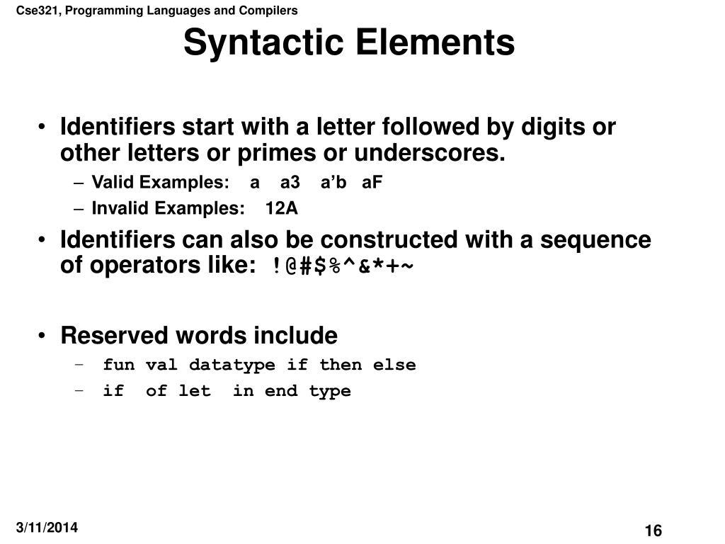 Syntactic Elements