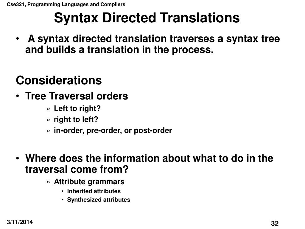 Syntax Directed Translations