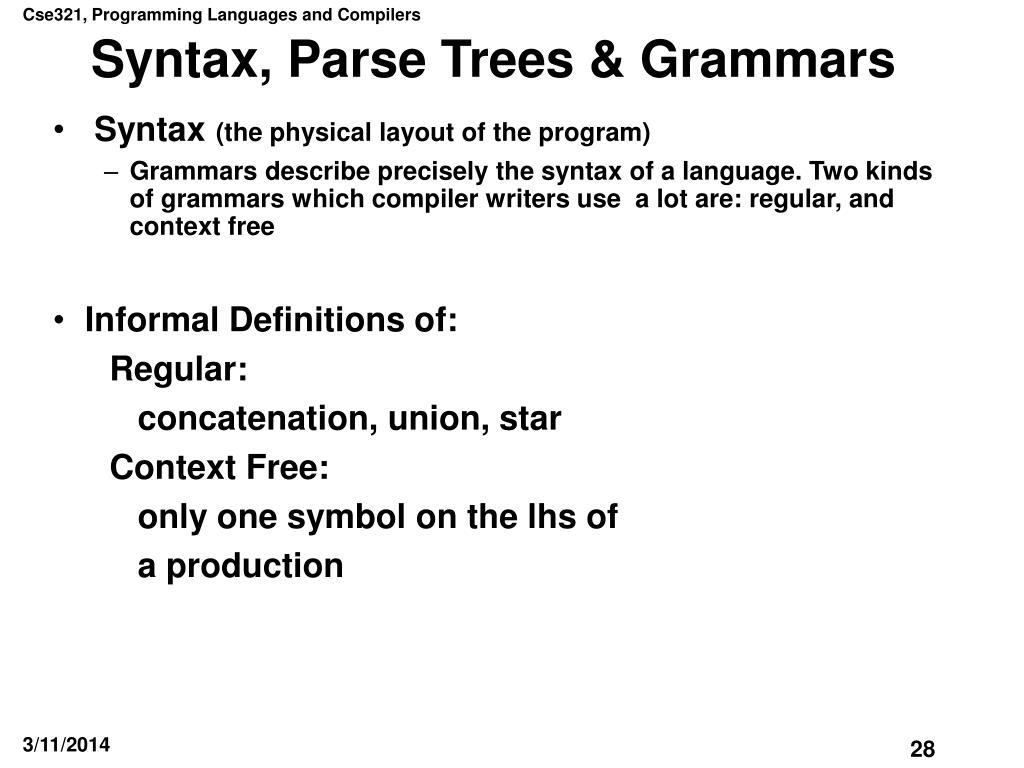 Syntax, Parse Trees & Grammars