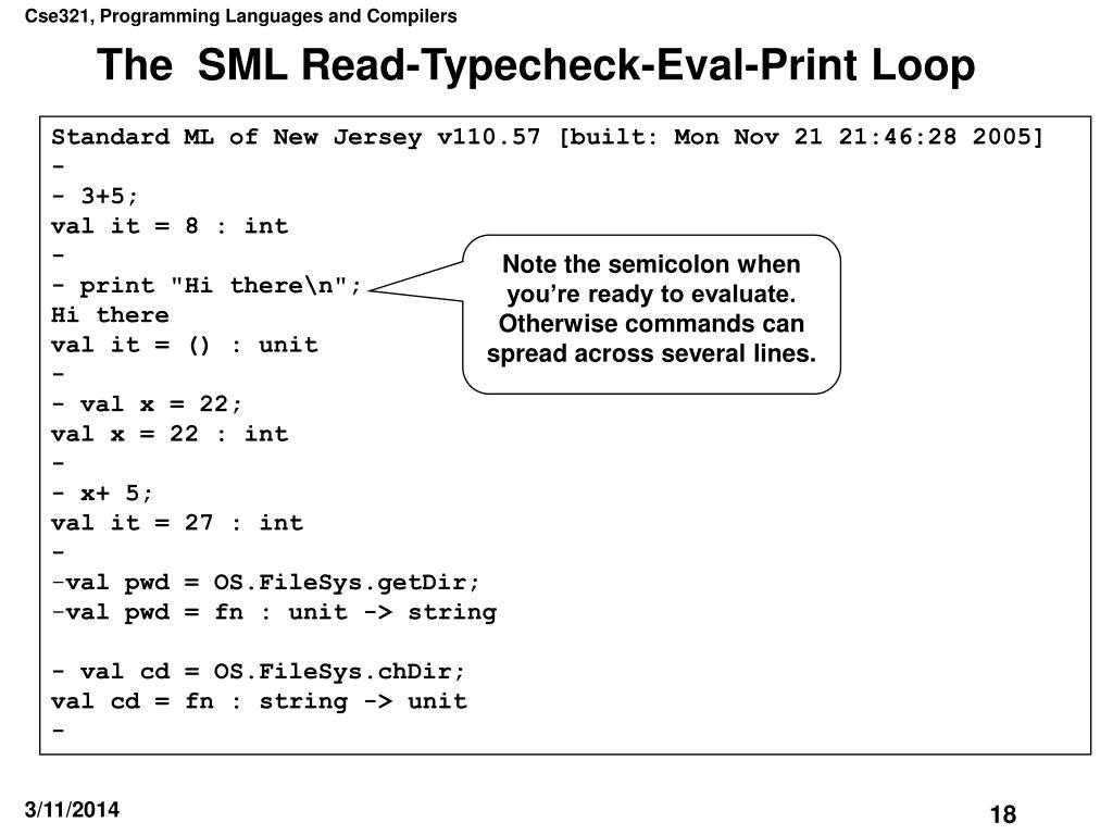 The  SML Read-Typecheck-Eval-Print Loop