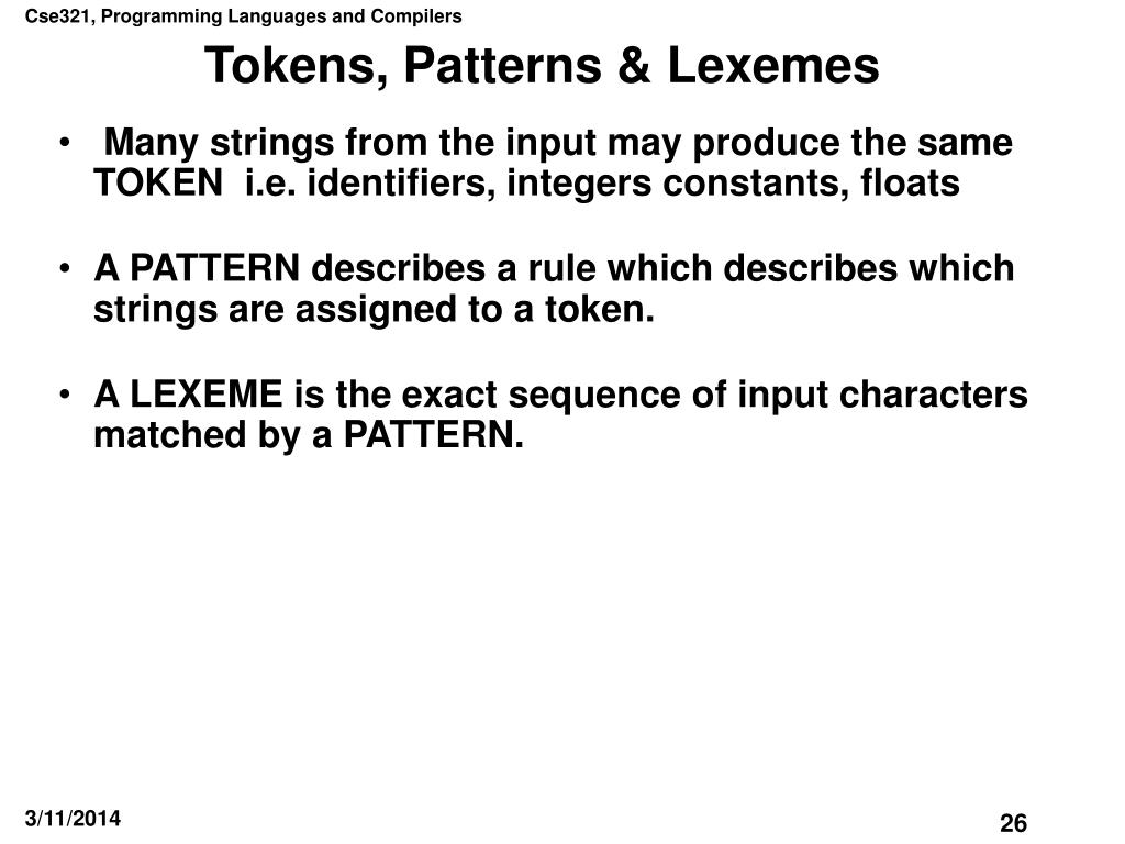 Tokens, Patterns & Lexemes