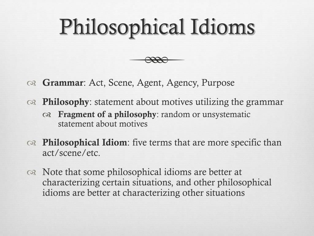 Philosophical Idioms