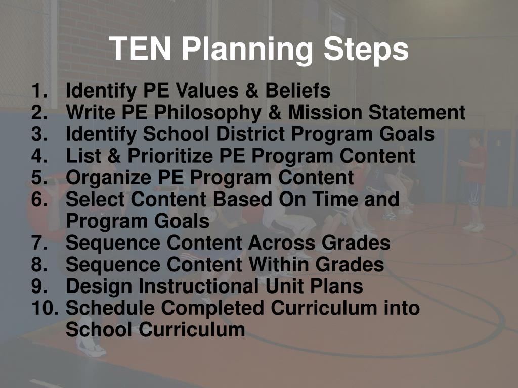 TEN Planning Steps