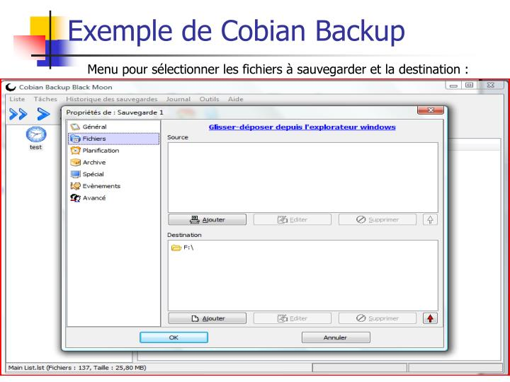 Exemple de Cobian Backup