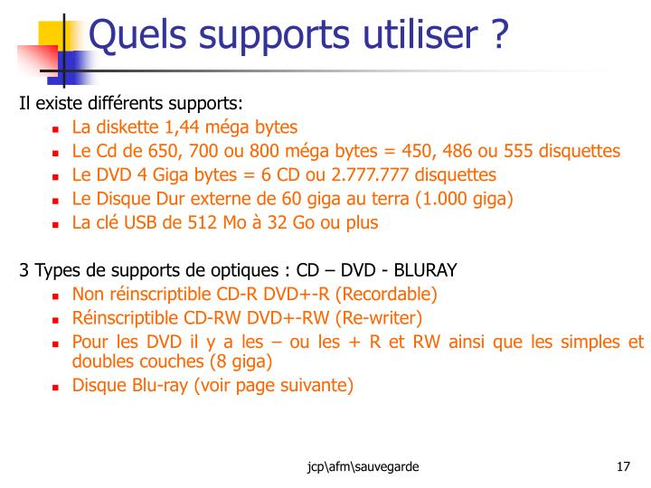 Quels supports utiliser ?