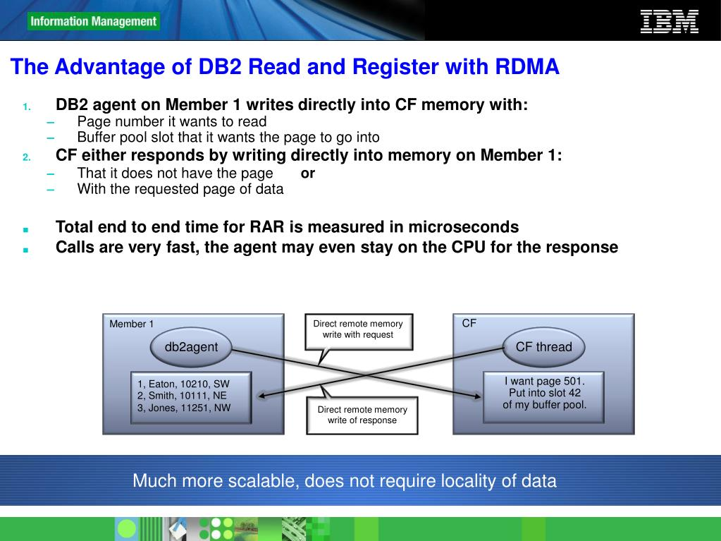 The Advantage of DB2 Read and Register with RDMA