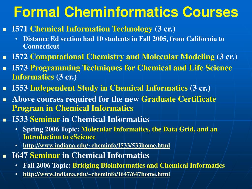 Formal Cheminformatics Courses