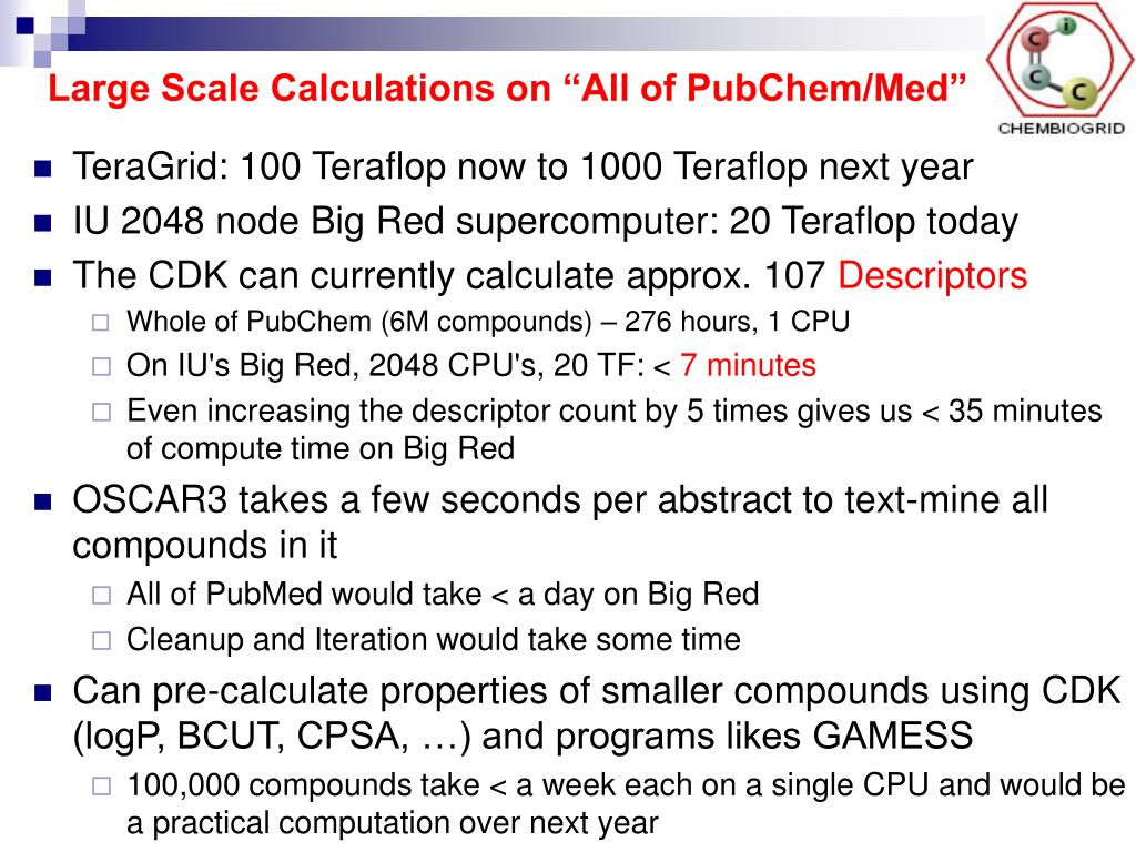 "Large Scale Calculations on ""All of PubChem/Med"""