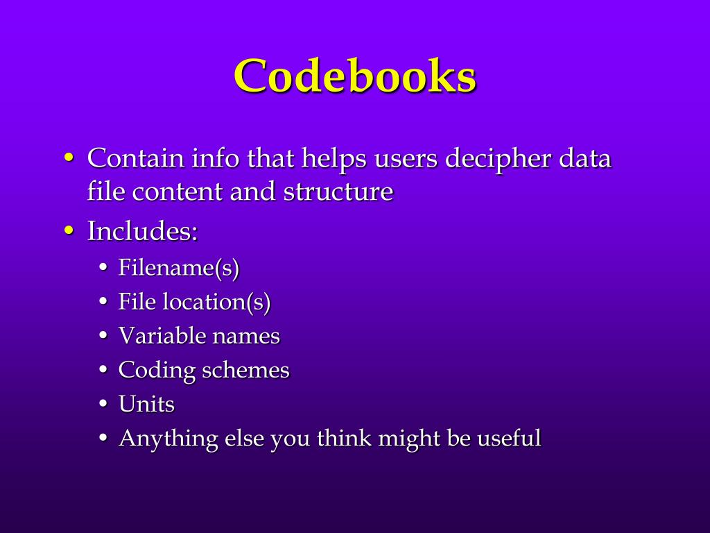Codebooks