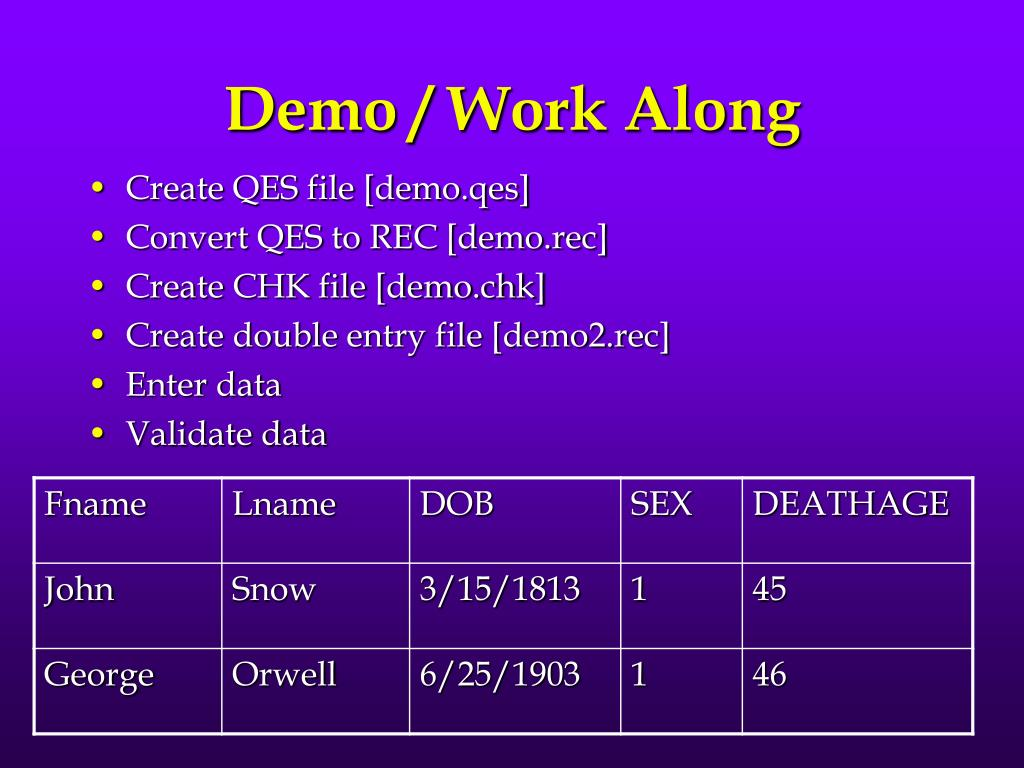 Demo / Work Along