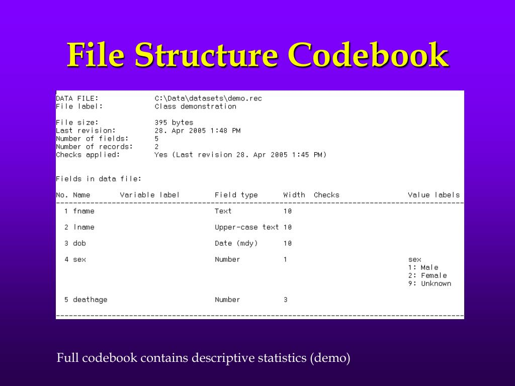 File Structure Codebook