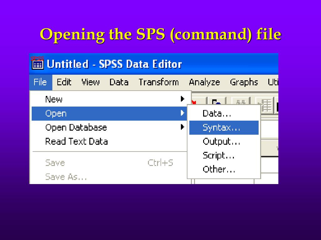 Opening the SPS (command) file