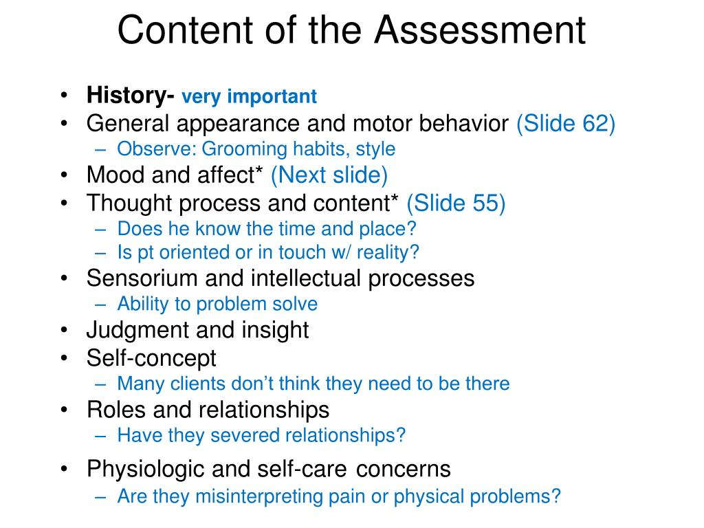 Content of the Assessment