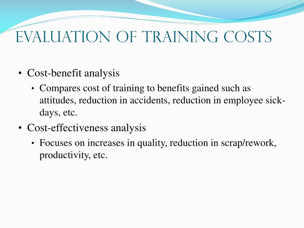 Evaluation of Training Costs