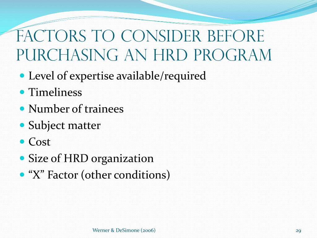 Factors to Consider Before Purchasing an HRD Program