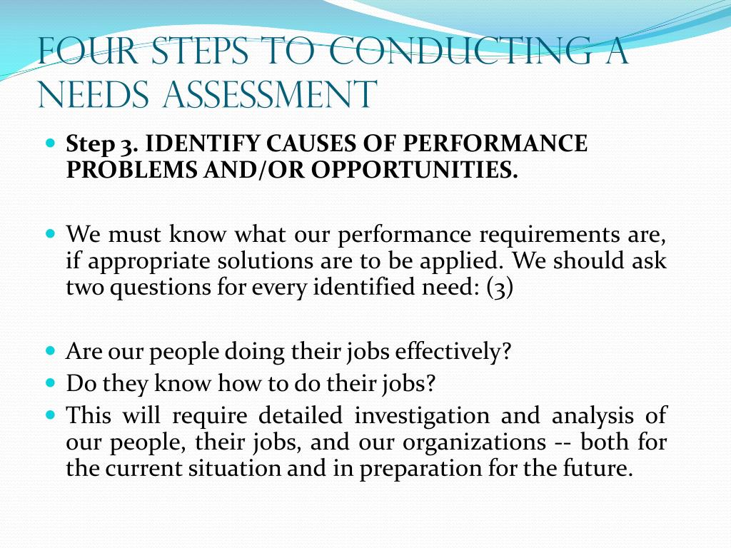 FOUR STEPS TO CONDUCTING A NEEDS ASSESSMENT