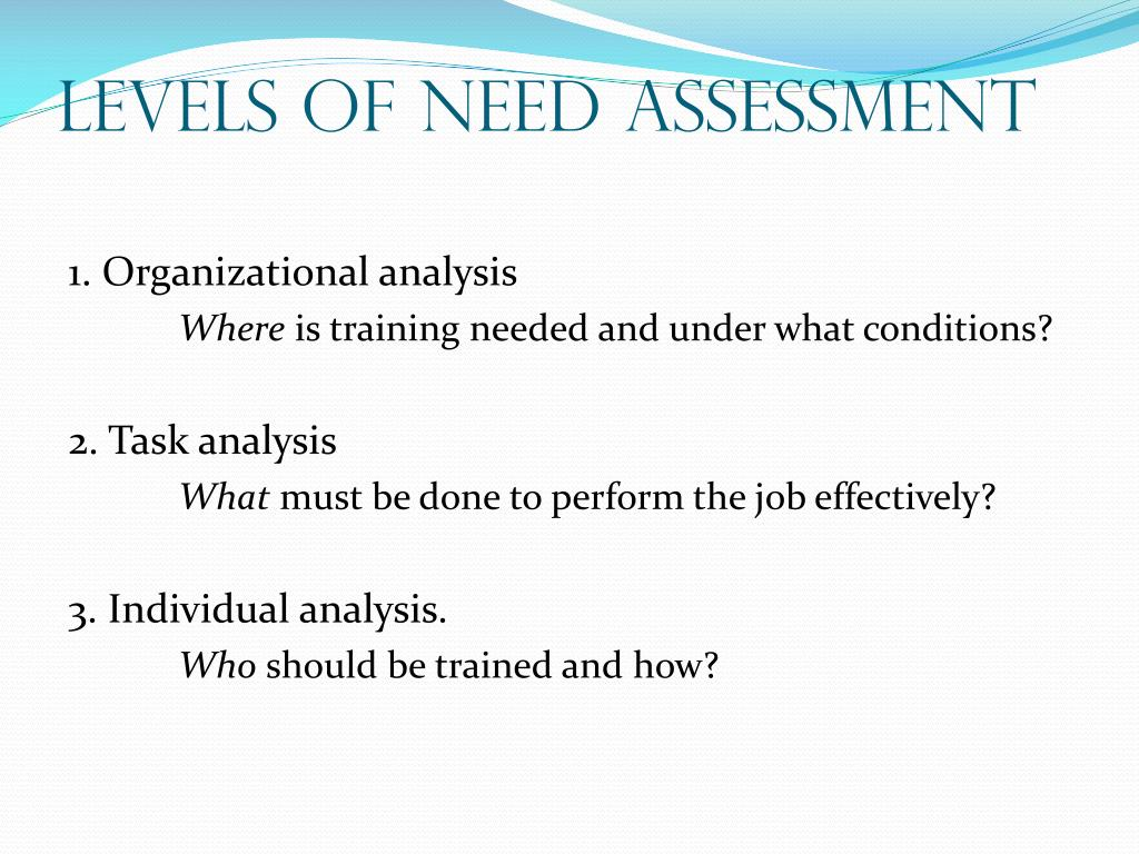 Levels of Need Assessment