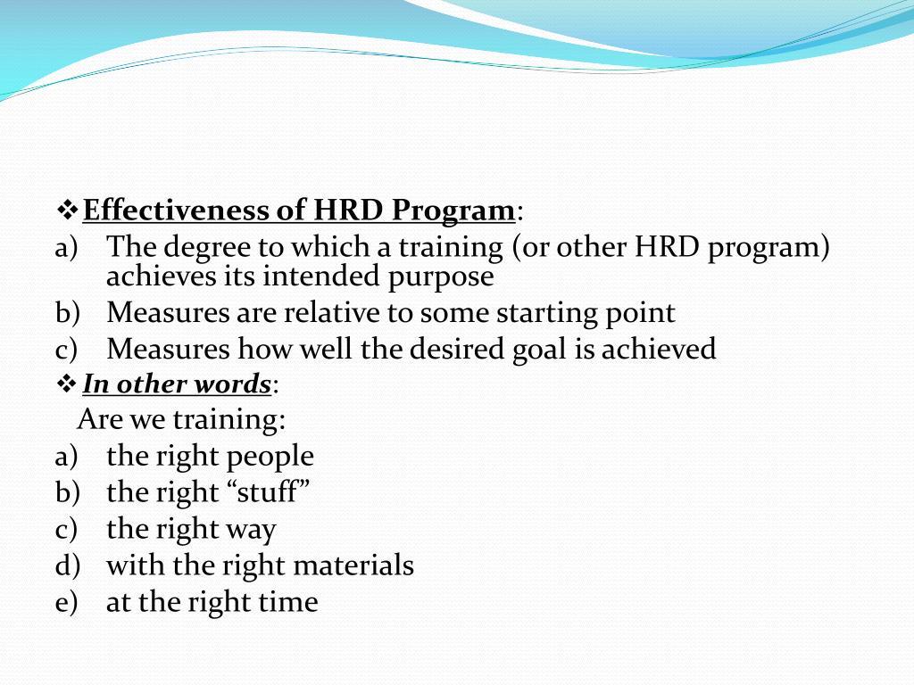 Effectiveness of HRD Program