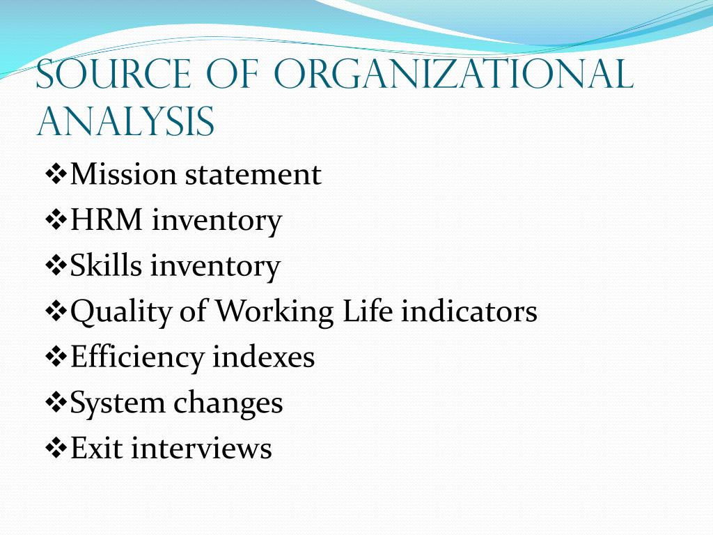 Source of Organizational Analysis