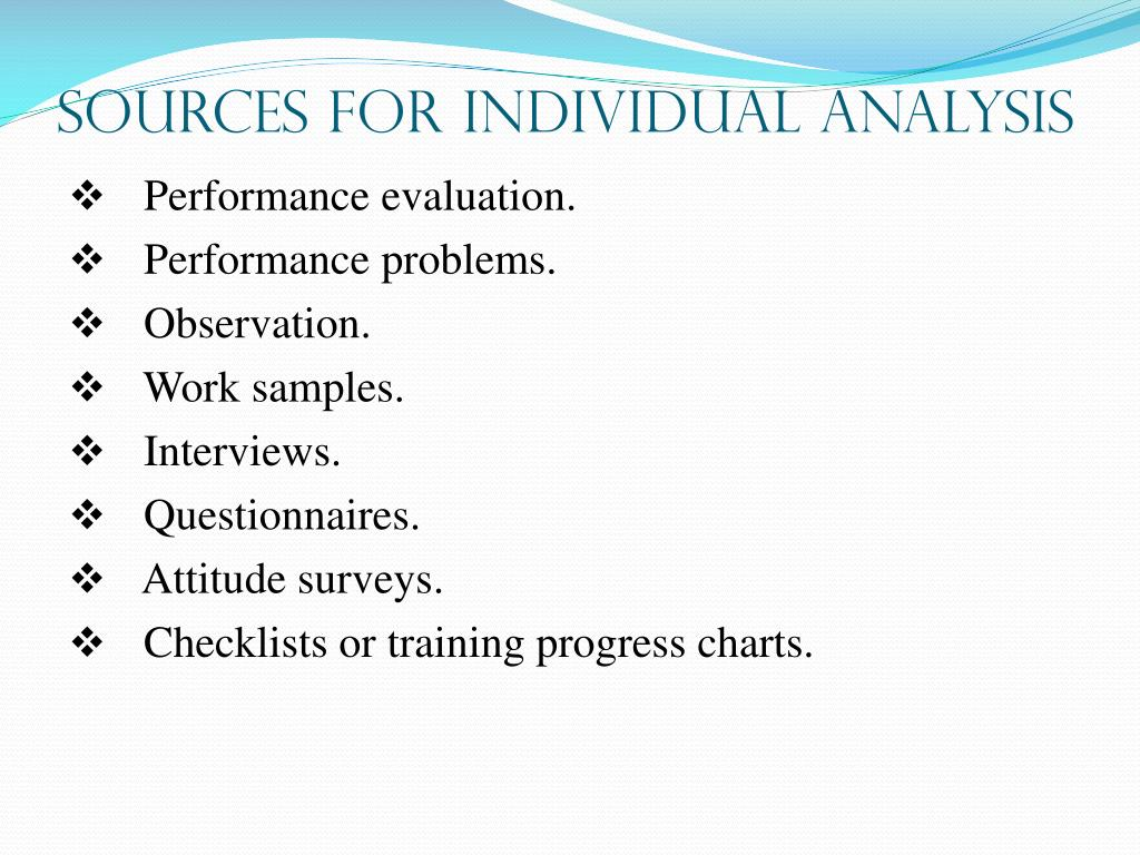SOURCES FOR INDIVIDUAL ANALYSIS