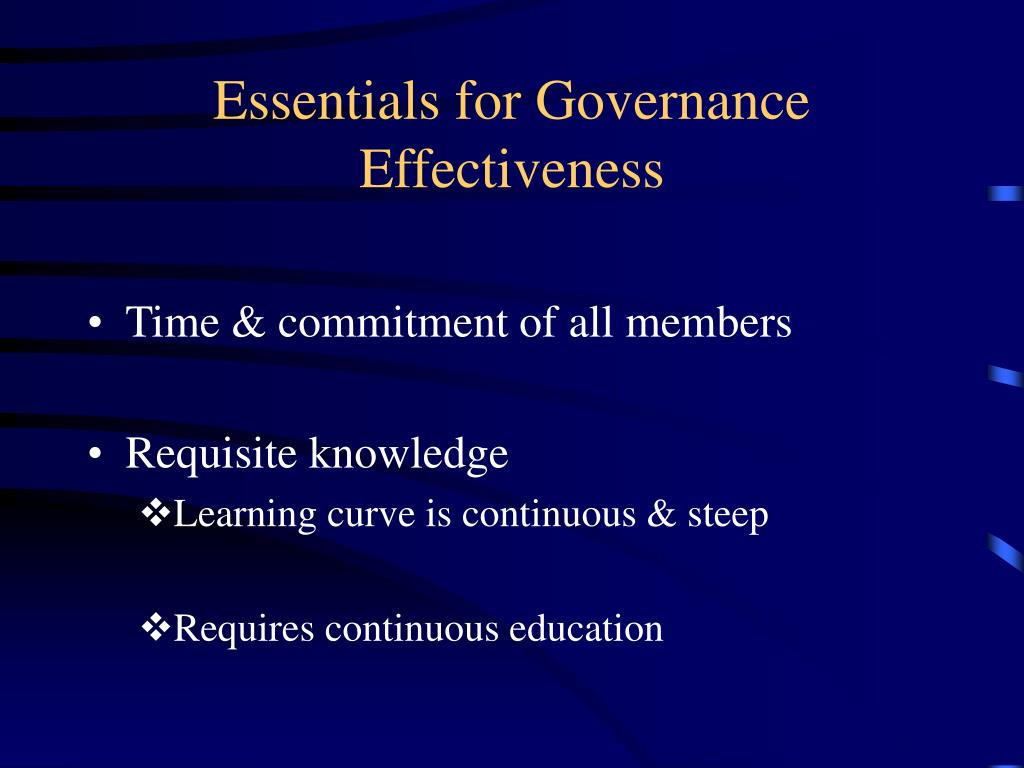 Essentials for Governance Effectiveness