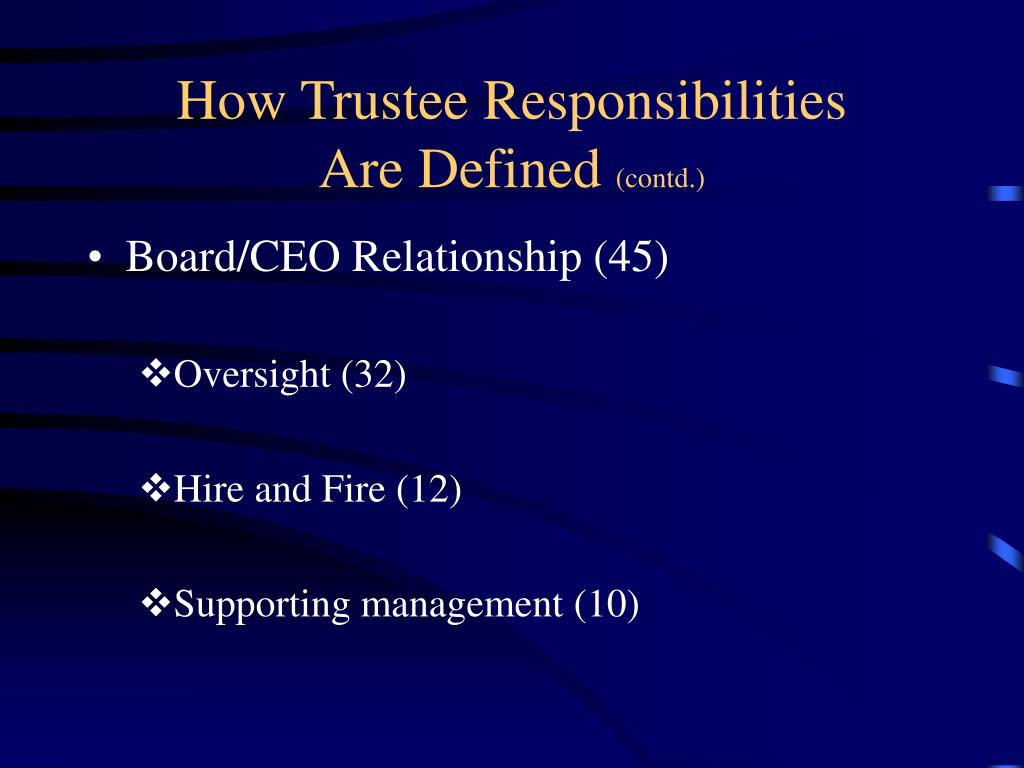 How Trustee Responsibilities