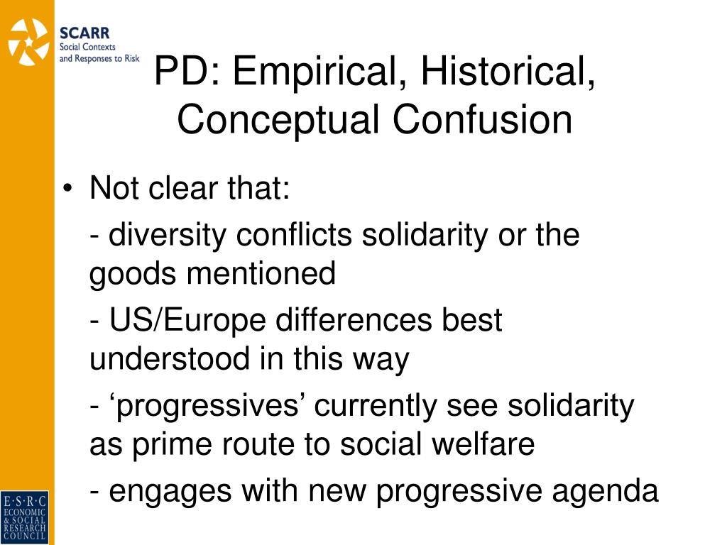 PD: Empirical, Historical, Conceptual Confusion