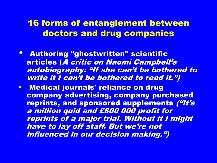 16 forms of entanglement between doctors and drug companies