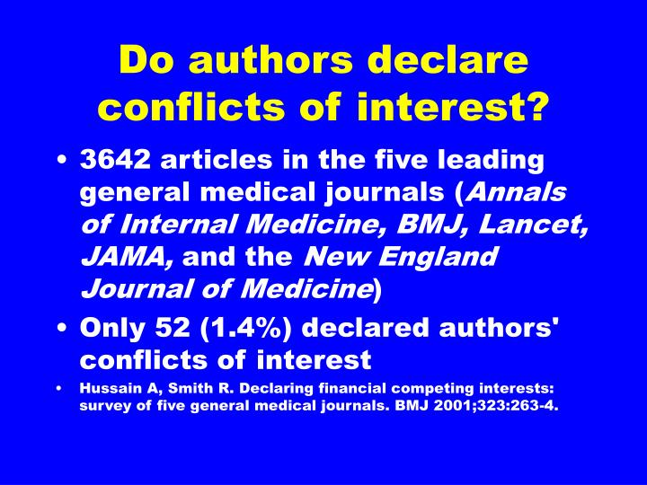 Do authors declare conflicts of interest?