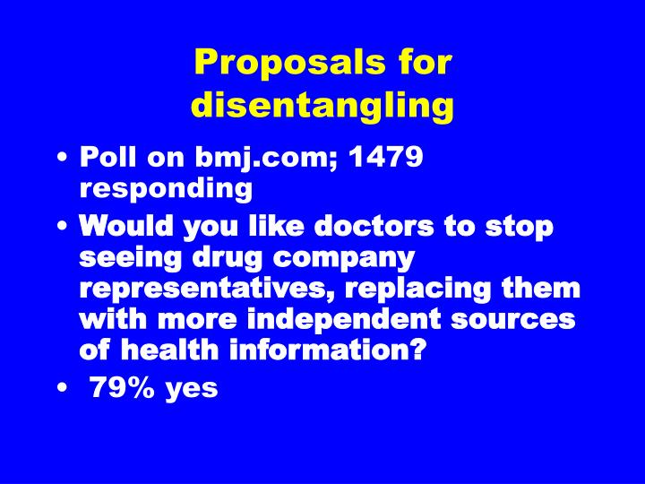 Proposals for disentangling