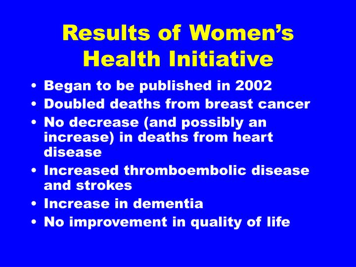 Results of Women's Health Initiative