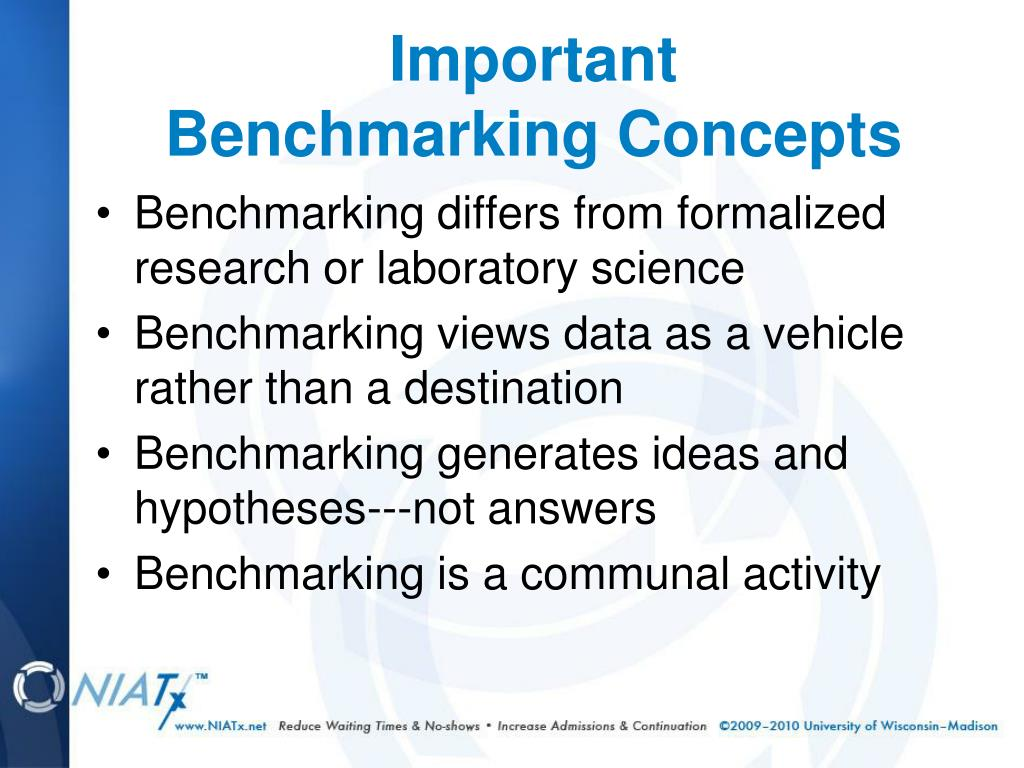 Benchmarking differs from formalized research or laboratory science