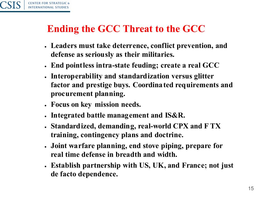 Ending the GCC Threat to the GCC