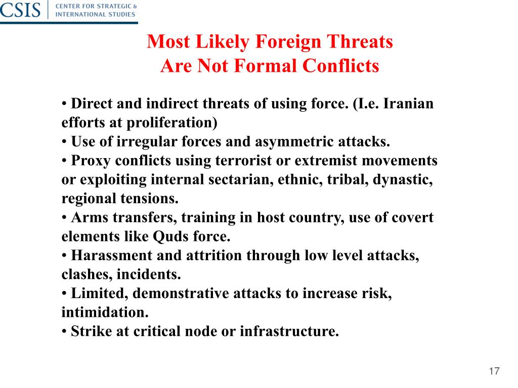 Most Likely Foreign Threats