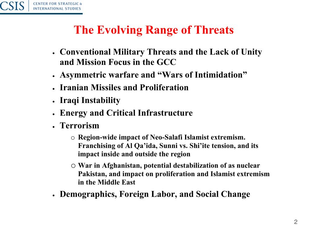 The Evolving Range of Threats