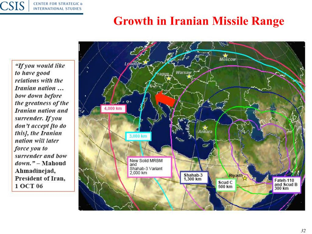 Growth in Iranian Missile Range