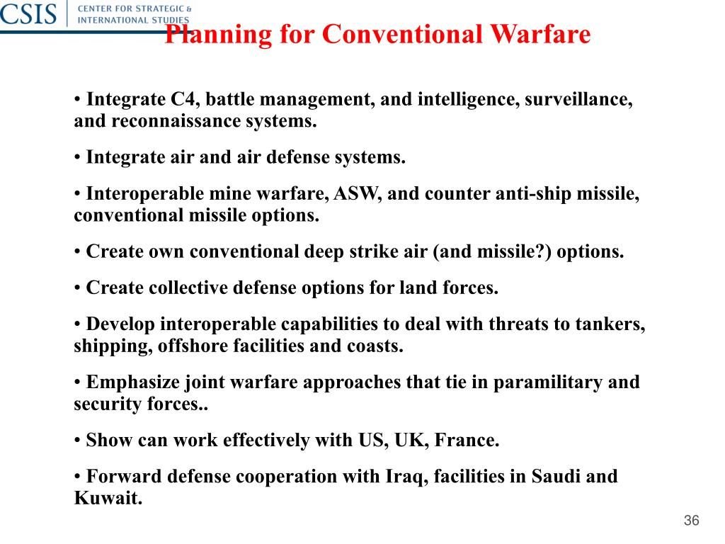 Planning for Conventional Warfare