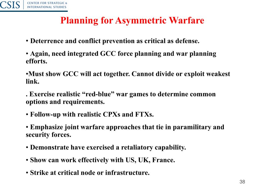 Planning for Asymmetric Warfare