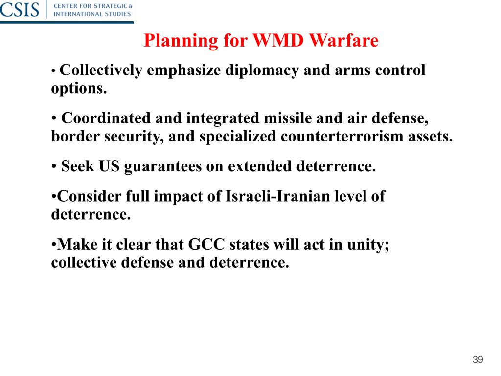 Planning for WMD Warfare