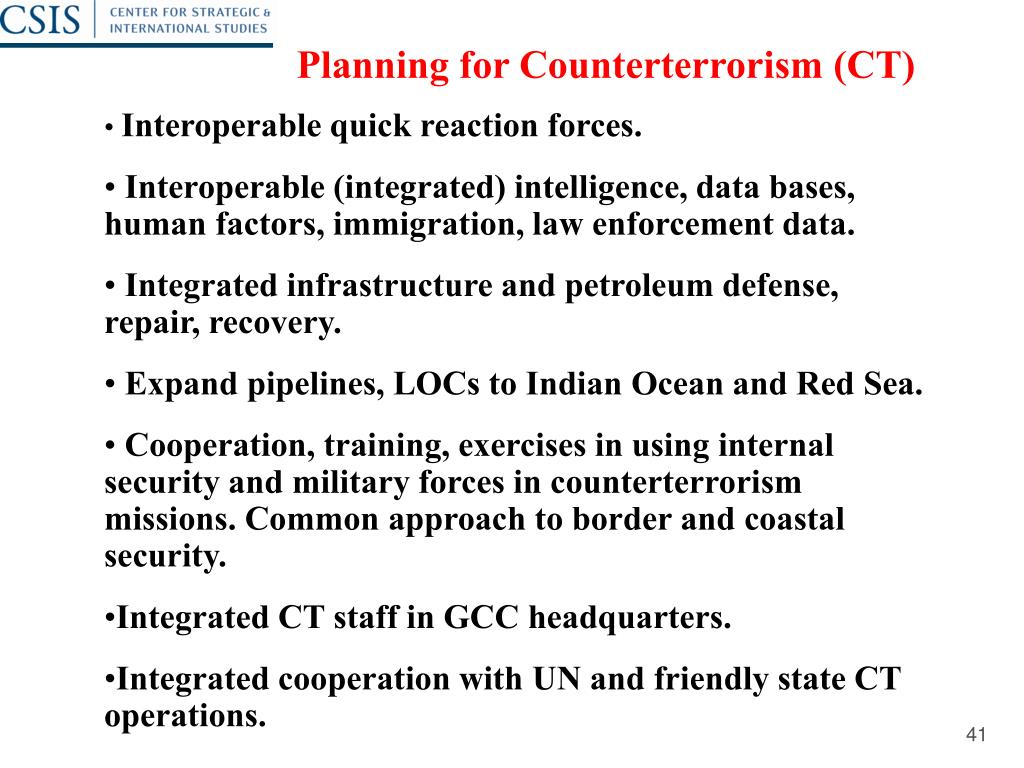 Planning for Counterterrorism (CT)