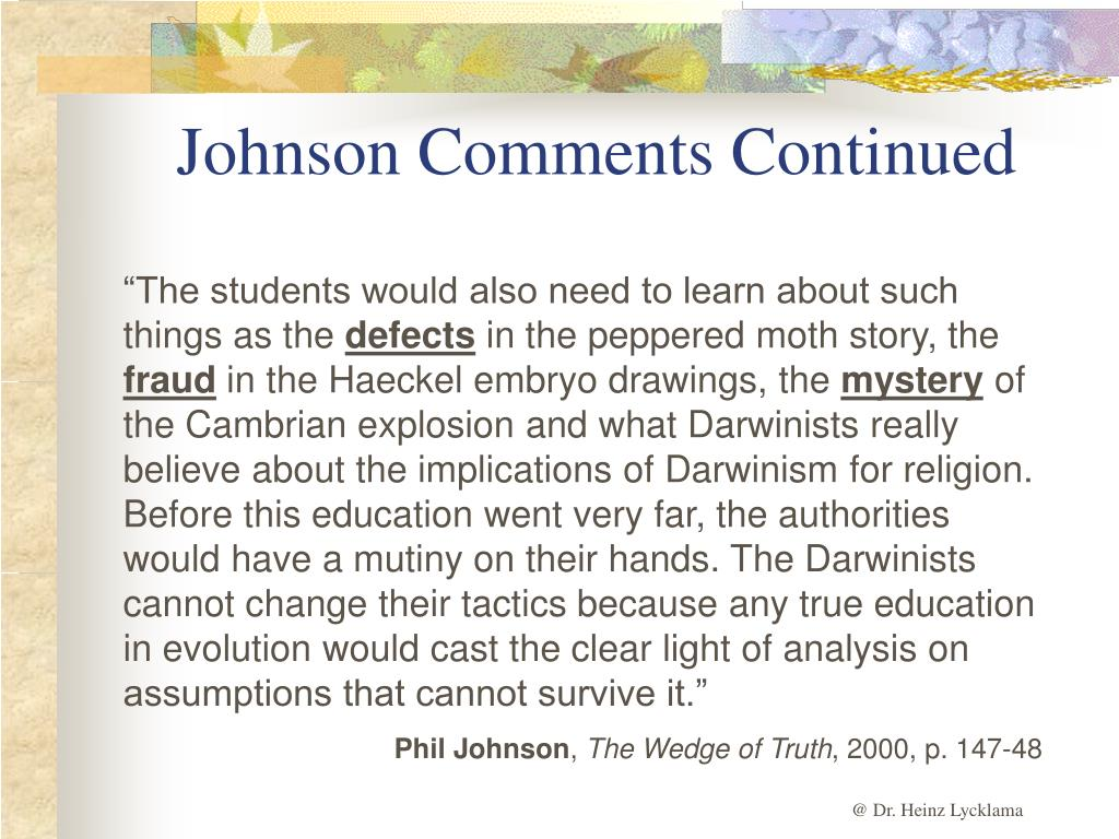 Johnson Comments Continued