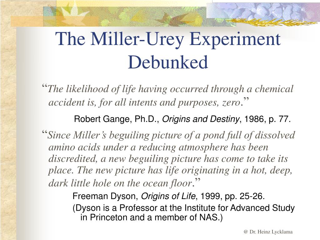 The Miller-Urey Experiment Debunked