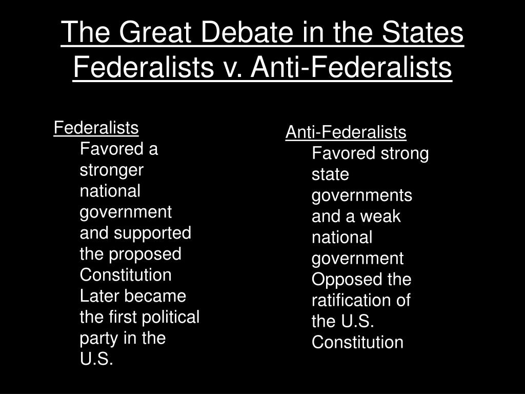 The Great Debate in the States