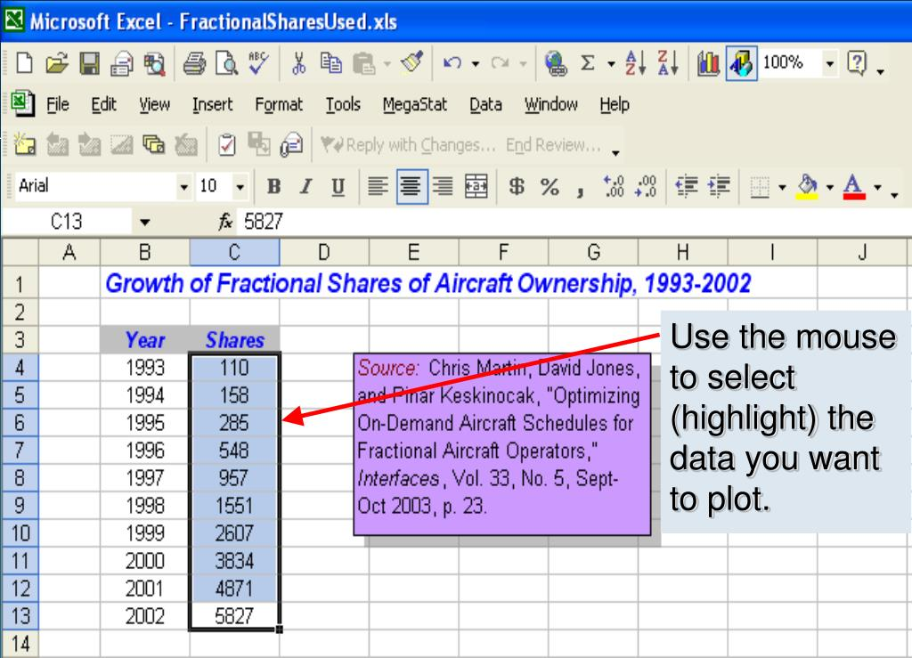 Use the mouse to select (highlight) the data you want to plot.