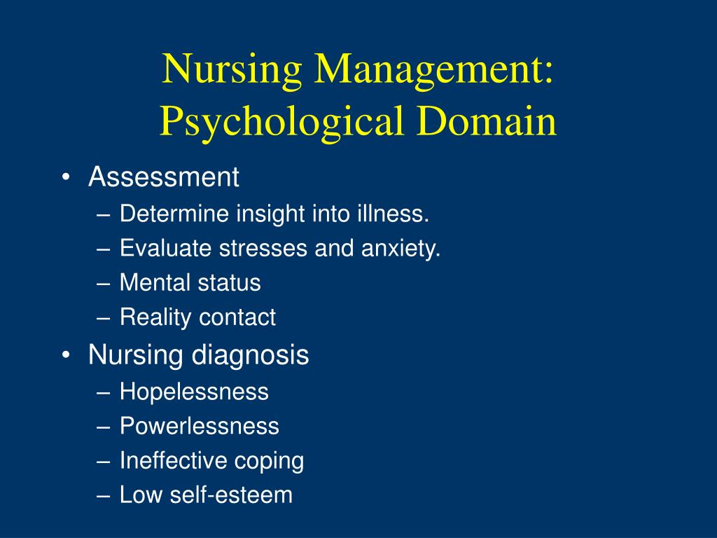 Nursing Management: Psychological Domain