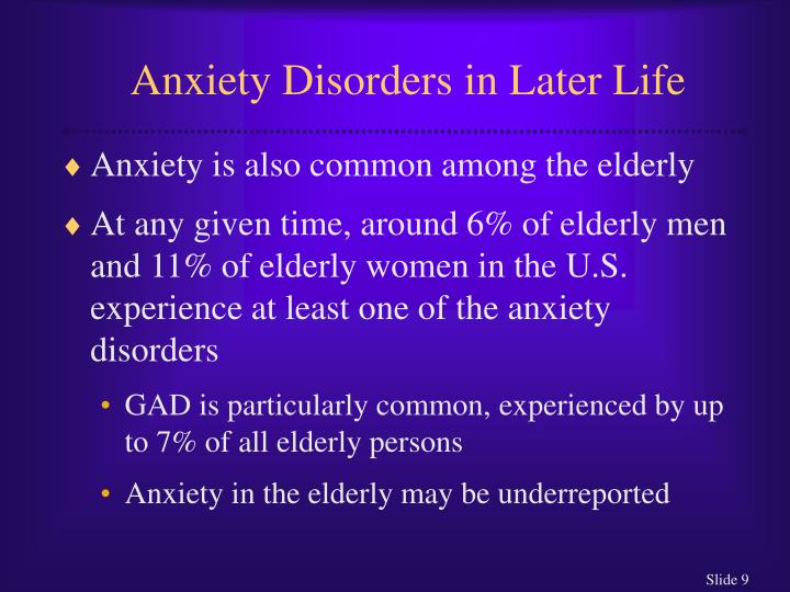 Anxiety Disorders in Later Life
