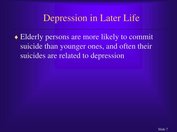 Depression in Later Life